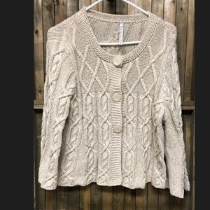 Leo & Nicole Fit & flare cream knit cardigan LP